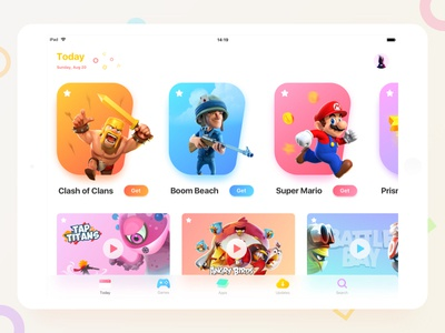 iPad Version of App Store app store ui light layout ipad gradient game design colorful clean app