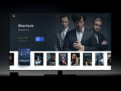 TV Shows tv clean design blue ui dark interactive tv shows
