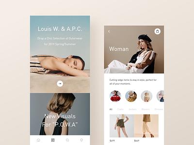 Mobile Shopping elegance typography shop light app minimal modern ui interactive layout clean