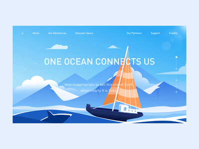 illustrations landing page animation whale fish jellyfish landing page sea animation web ui design clean illustration