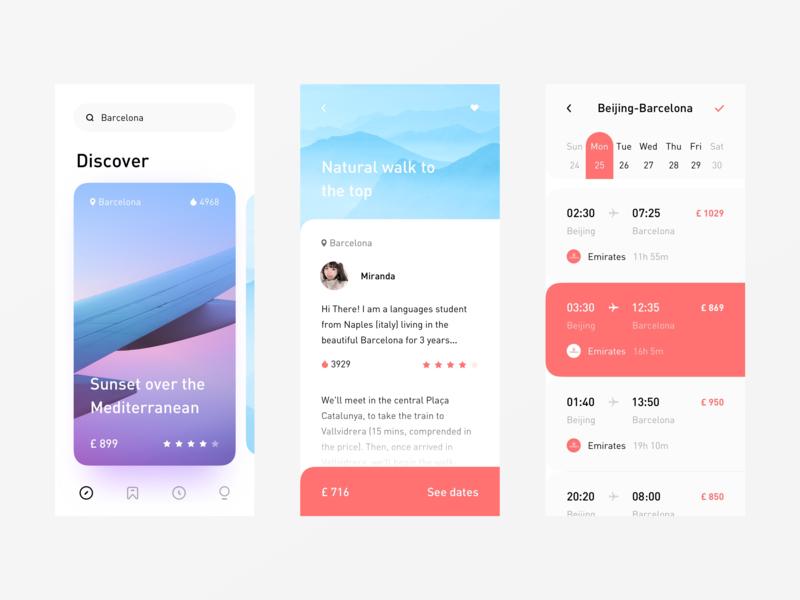 Travel World App travel airplane light app minimal interactive design ui layout clean