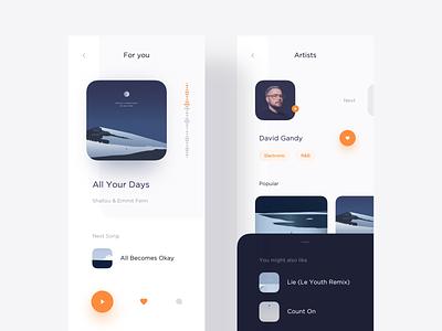 Player & Artist Page artist profile player music typography light flat minimal app modern interactive design ui layout clean
