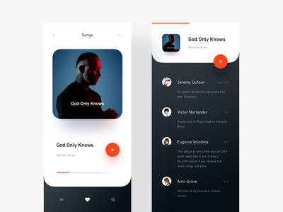 Albums & Comment Page comment player music typography minimal app modern interactive design ui layout clean