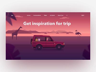 Travel Page Animation animal homepage gradient illustration animation car web travel design