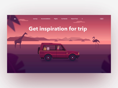 Travel Page Animation animal homepage gradient illustration animation car web travel design