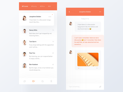 Chat chat typography light minimal app modern interactive design ui layout clean