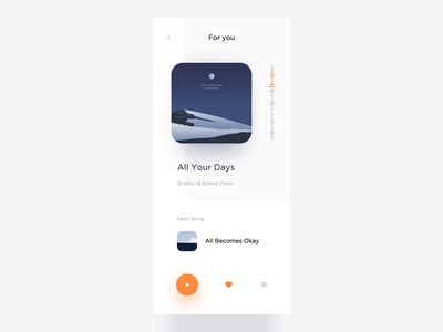 Music Page Animation player music typography light animation minimal app modern interactive design ui layout clean