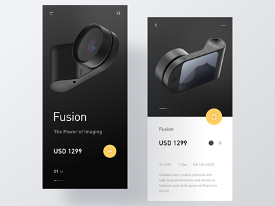 Mobile Shopping Page dark product shop typography minimal modern interactive ui design layout clean