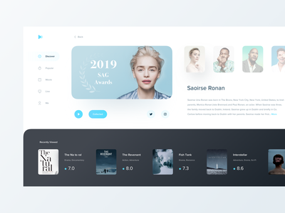 Discover Page film web typography minimal modern interactive design ui layout clean