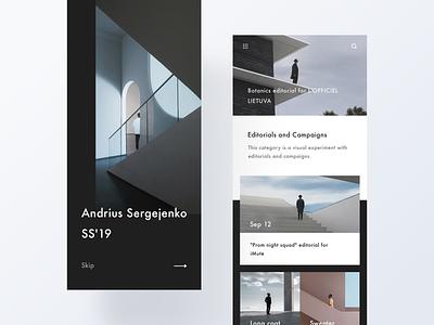 M&Y fashion shop dark typography minimal app modern interactive design ui layout clean
