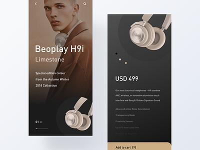 B&O dark product shop typography app minimal modern layout design ui clean