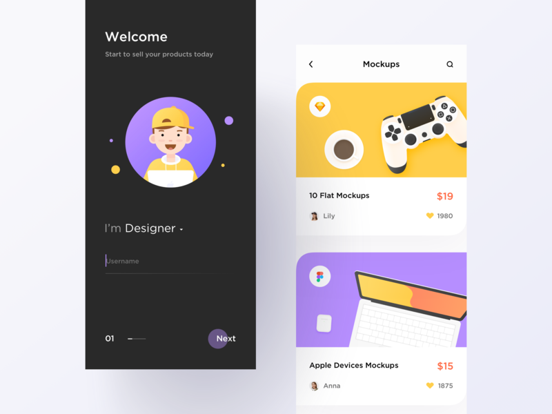 UI Market app app ui design interactive illustration light flat typography minimal modern layout clean