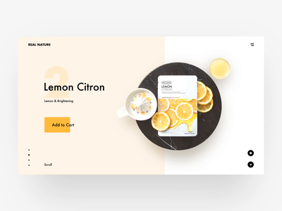 REAL NATURE food colorful product shop web animation typography minimal modern interactive ui design clean layout