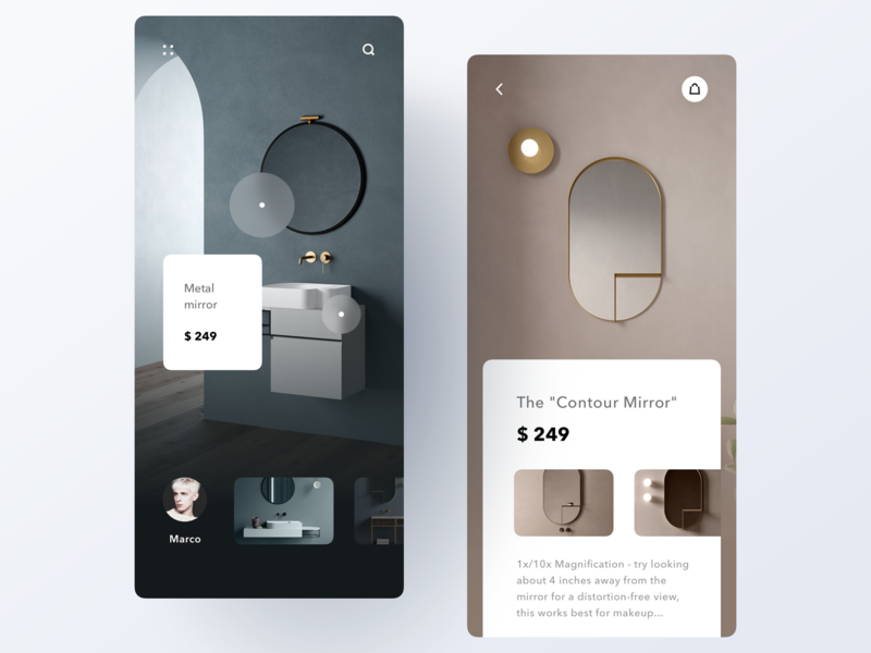 Product page product shop app typography modern minimal ui clean design layout
