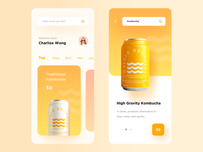 Kombucha gradient product light typography app minimal modern interactive design ui layout clean