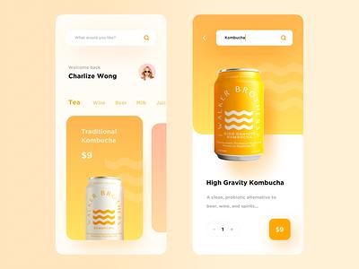 Kombucha gradient product light typography app minimal modern interactive design ui layout clean
