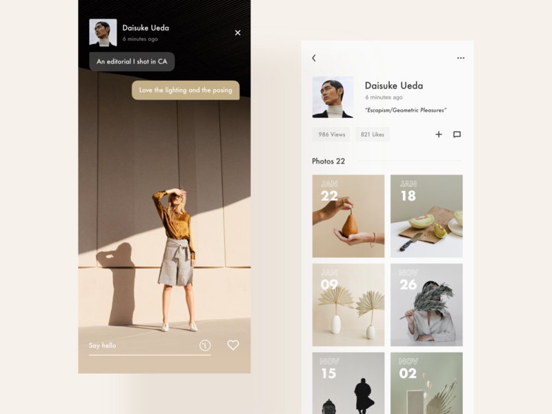 Video / Profile typography app minimal modern interactive design ui layout clean