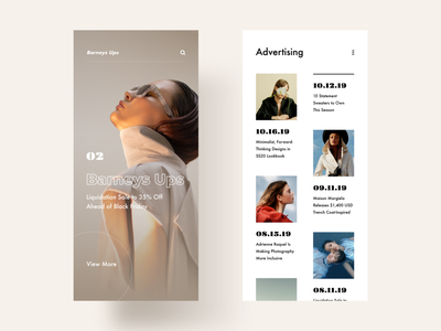 Homepage / Advertising light typography app minimal modern interactive design ui layout clean