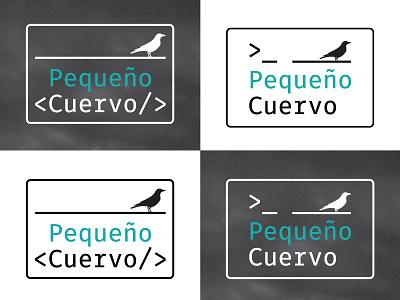 Pequeño Cuervo logo crow code negative