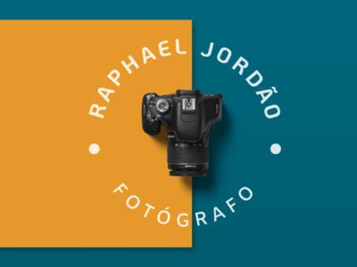 Raphael Jordão Photographer mockup photographer yellow green symbols camera minimal rebranding logotype branding design visual identity symbol logodesign logo brand photography
