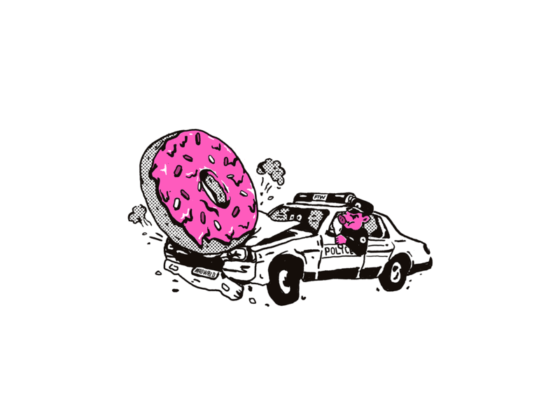 WRECKED donut police acab street art graphicdesign illustration design artwork