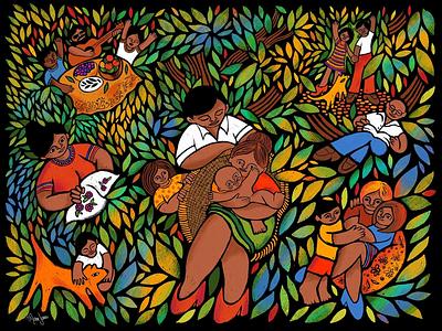 Until We Meet Again - part 1 adobe fresco love nature social distancing family illustration