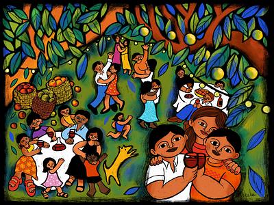 The Wedding nature adobe fresco wine food love family illustration