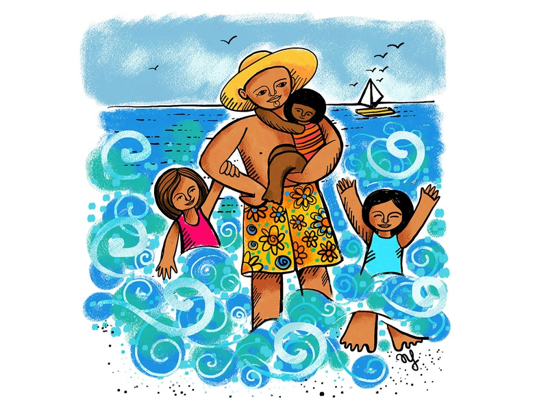 Happy Father's Day 2dart characterdesign digital illustration sisters family ocean nature beach adobe fresco illustration childrens illustration children parenthood fathersday