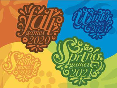 Special Olympics New Jersey- seasonal icons typogaphy illustration digital illustration seasonal colors seasons sports olympics