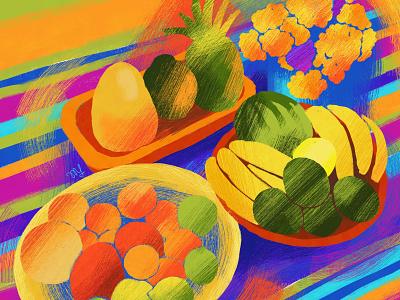 After the Market farmers market colorful vegetables fruits nature digital illustration adobe fresco illustration