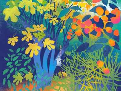 The Fig Tree garden leaves flowers bouganville tree nature digital illustration procreate illustration