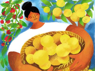 La Limonera characterdesign childrens illustration children illus citrus food lemon harvest garden basket woman nature adobe fresco digital illustration illustration