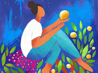 Lemon Moon • illo & animation woman night sky moon tree lemon nature childrens illustration digital illustration illustration