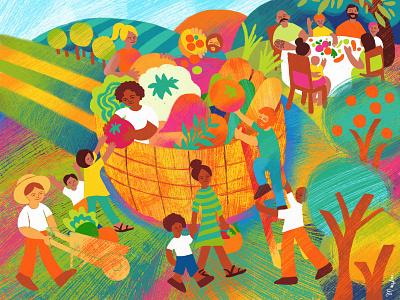 Community Farm Share • Editorial Illustration harvest fruits vegetables covid farming food characterdesign family childrens illustration adobe fresco nature digital illustration illustration