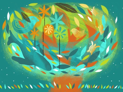 Earth Day • Editorial illustration for Wandermag tree living plants ocean convervation planet animals childrens illustration adobe fresco nature digital illustration illustration