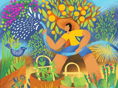 The Heat Wave fruits vegetables ctitrus trees plants gardening childrens illustration characterdesign adobe fresco nature digital illustration illustration gar