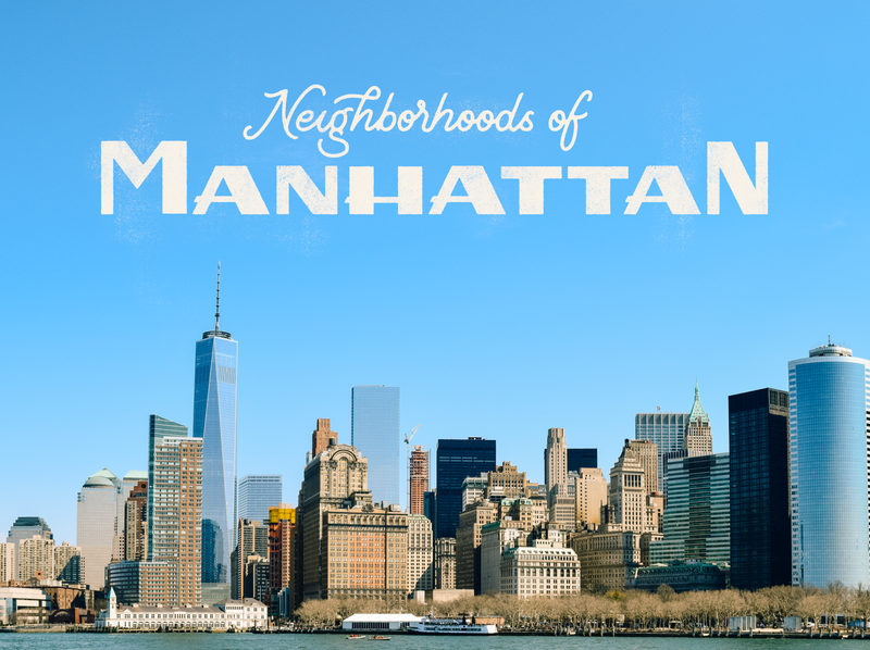 Neighborhoods of Manhattan manhattan photo cover letter lettering nyc