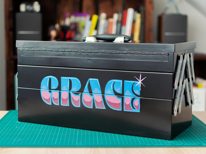 Grace pulp fiction enamel brush lettering sign painting
