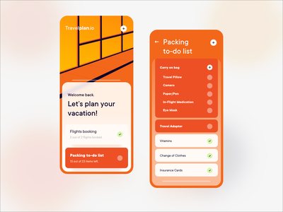 Travel App packing abstract ui list todo vacations travel