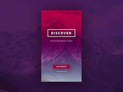 Discover! top mountain start typo live camp adventure uiux app