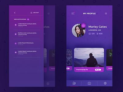 Phototeller App Screens notifications interaction left menu profile ux ui app