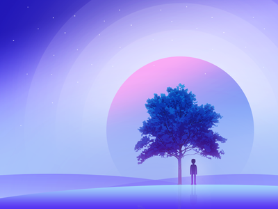 Lonely moon! colors stars sky reflection tree alone gradient silhouette horizon illustration moon