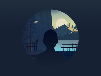 Depressed yet happy deep illustration hope happy dark light crow sun landscape depression silhouette