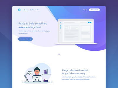 Online courses platform - Landing page cta gradient header content flat illustrations platform online courses landing page website