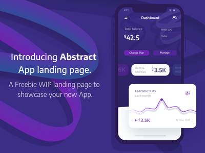 Freebie for app landing page money stats dashboard abstract finance freebie free landing page app