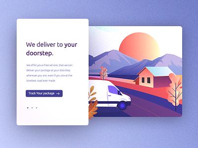 Delivery van package track road home house door ui illustration slider app van delivery