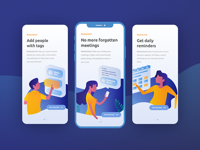 Onboarding flow get started illustrations reminders flow calendar assistant boarding walk through character tags