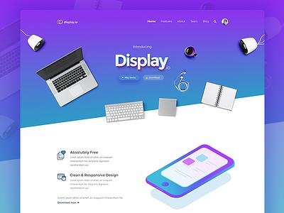 Landing page - Display.io portfolio features testimonials template gradient abstract realistic isometric flat icons illustration ui app website