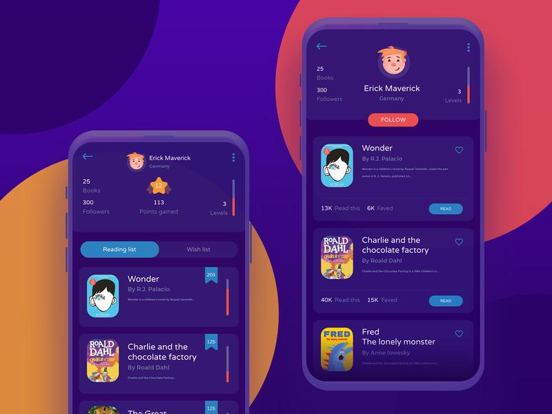 Kids book app - WIP kit wip progress profile page cartoon avatar read books kids app ui