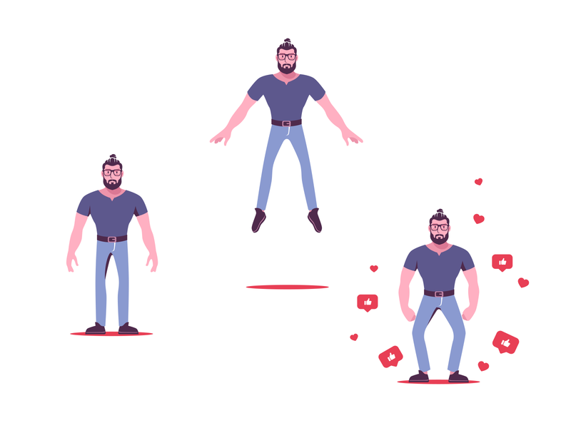 illustration of a man for animation on youtube social media button jump heart like flat cartoon peoples game drawing design ui emotion people character vector poses man youtube animation